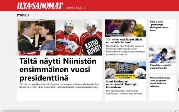 Ilta-Sanomien uutissovellus Modern UI:lle.