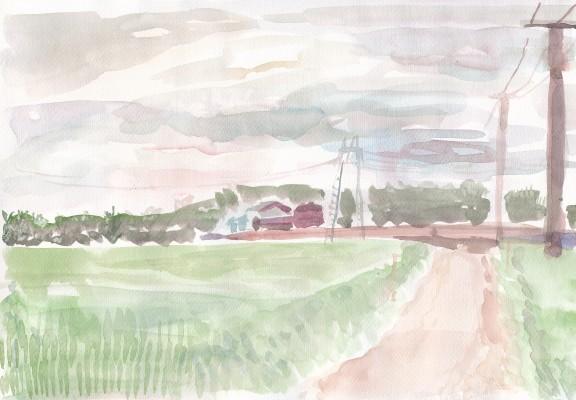 Manamin näkymys perinteisestä suomalaisesta maalaismaisemasta, jonka ohi hän kulkee päivittäin kotimatkallaan.