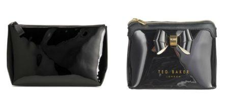 1) Meikkilaukku 12,99€ , H&M 2) Ted Baker London Harloe Layered Bow -meikkilaukku 44,90€ , Stockmann