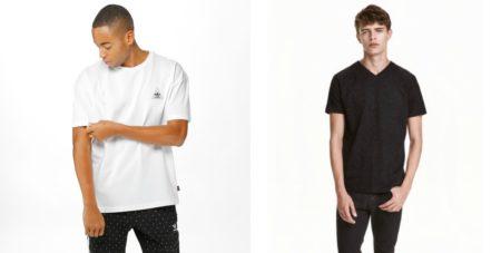 1) Adidas Originals T-paita 34,95€ , www.junkyard.fi 2) T-paita 7.99€ , H&M